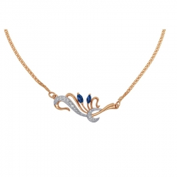 Золотое колье Флора с сапфирами, бриллиантами