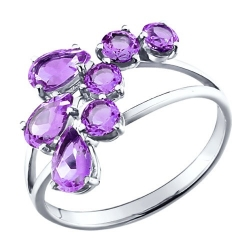 Кольцо из серебра с аметистами