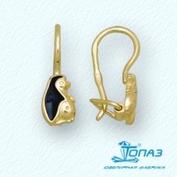 Детские серьги Ежики из желтого золота с эмалью