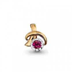 Золотая подвеска с рубином, бриллиантом