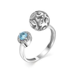 Женское кольцо из белого золота (Топаз, Бриллиант)