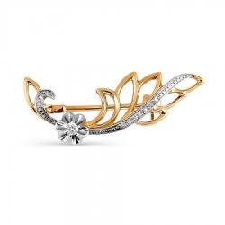 Золотая брошь Растения с бриллиантами
