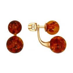 Серьги-пусеты из золочёного серебра с коричневыми янтарём