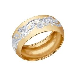 Позолоченное обручальное кольцо с гравировкой