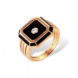 Кольцо-печатка из золота с бриллиантом, фианитом, эмалью