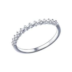 Тонкое кольцо из серебра с фианитами