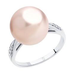 Кольцо из серебра с розовым жемчугом Swarovski и фианитами