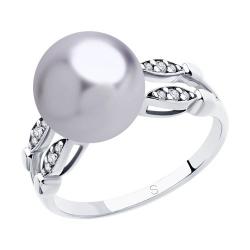 Кольцо из серебра с сиреневым жемчугом Swarovski и фианитами