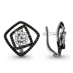 Золотые серьги Геометрия с бриллиантом