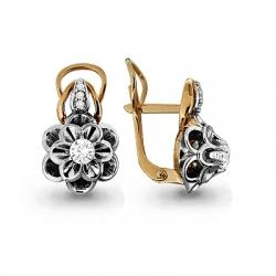 Золотые серьги Цветок с бриллиантом