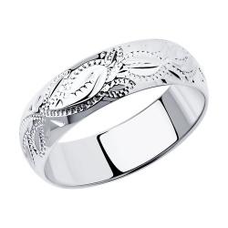 Обручальное кольцо из серебра с гравировкой