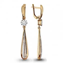 Золотые серьги висячие с бриллиантом