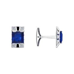 Запонки из серебра с эмалью и синими фианитами