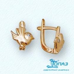 Детские золотые серьги Птицы с фианитами