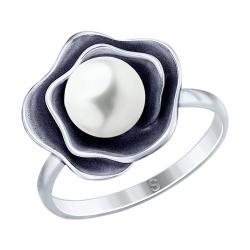 Кольцо из чернёного серебра с жемчугом