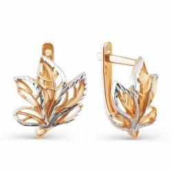 Золотые серьги Листья