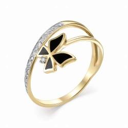 Женское кольцо Бабочка из желтого золота (Эмаль, Бриллиант)