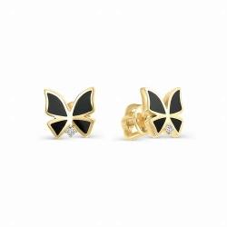 Серьги-гвоздики с бабочками из желтого золота (Эмаль, Бриллиант)