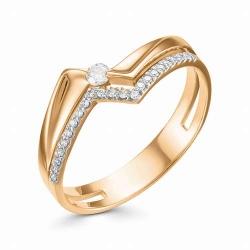 Женское золотое кольцо Геометрия (Бриллиант)