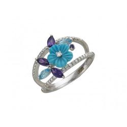 Женское кольцо в виде цветка из белого золота c цветными камнями