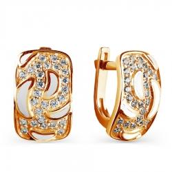 Золотые серьги с эмалью, фианитами