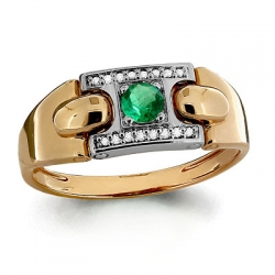 Мужское золотое кольцо с изумрудом, бриллиантом