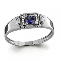 Мужское золотое кольцо с сапфиром, бриллиантом