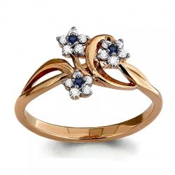 Золотое кольцо Цветочки с сапфиром, бриллиантом