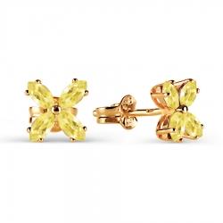 Золотые серьги-гвоздики с цитрином