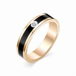 Обручальное золотое кольцо с эмалью и бриллиантом