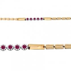 Золотой браслет с рубином, бриллиантом
