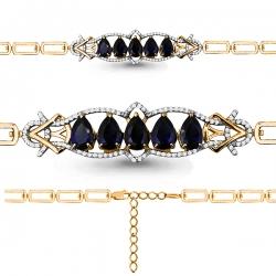 Золотой браслет с сапфиром, бриллиантом