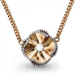 Золотое колье в виде цветка с бриллиантом