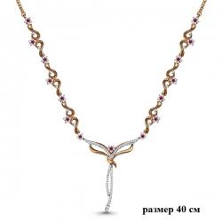 Золотое колье с рубином, бриллиантом