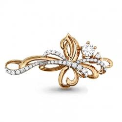 Золотая брошка в виде цветка с бриллиантом