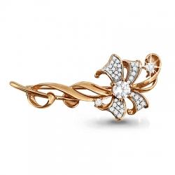Золотая брошка Цветок с бриллиантом