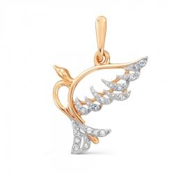 Золотая подвеска Птица с бриллиантами