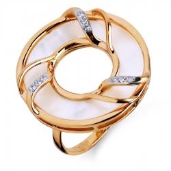 Золотое кольцо с перламутром, фианитами