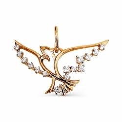 Золотая подвеска Птица с фианитами