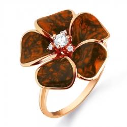 Золотое кольцо Цветок с эмалью, фианитами