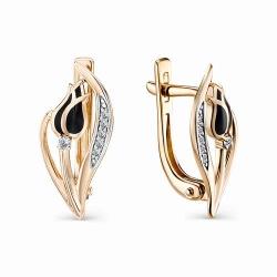 Золотые серьги с эмалью и бриллиантом