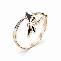 Женское золотое кольцо с эмалью и бриллиантом