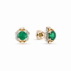 Золотые серьги-гвоздики с агатом и бриллиантом