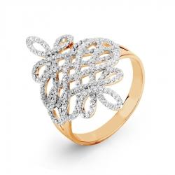Золотое кольцо Ажур с фианитами
