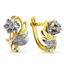 Серьги Цветы из желтого золота с бриллиантами