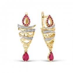 Эксклюзивные серьги Рубиновый дождь из комбинированного золота