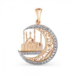 Мусульманская золотая подвеска с фианитами