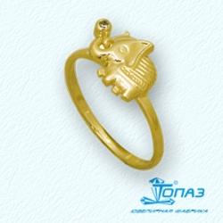 Детское кольцо Слоник из желтого золота с фианитом
