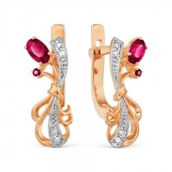 Т141021124 золотые серьги с рубином и бриллиантом