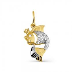 Подвеска Рыбка из желтого золота с фианитами